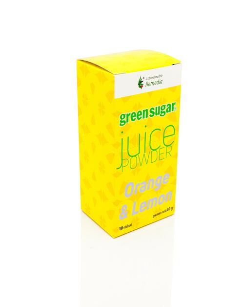 Juice Powder cu Green Sugar si pudra naturala de lamaie si portocala (10 stickuri)