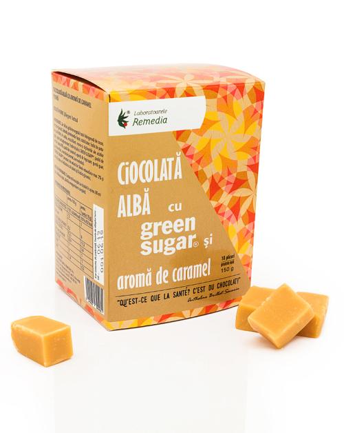 Ciocolata alba cu Green Sugar si aroma de caramel (10 plicuri)