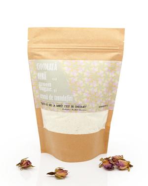 Ciocolata alba cu Green Sugar si aroma de trandafiri (250gr)