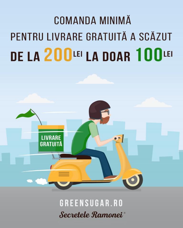 Comenzi peste 100 RON = Livrare Gratuita